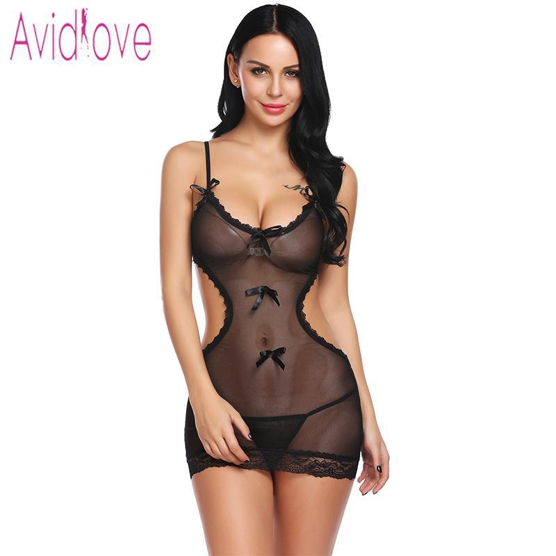 37af6694f4 Avidlove 2018 New Floral Lace Lingerie Sexy Hot Erotic Underwear Women Mini  Babydoll Dress Chemise Nightwear Sex Costume D18110801 Cotton Nightwear For  ...