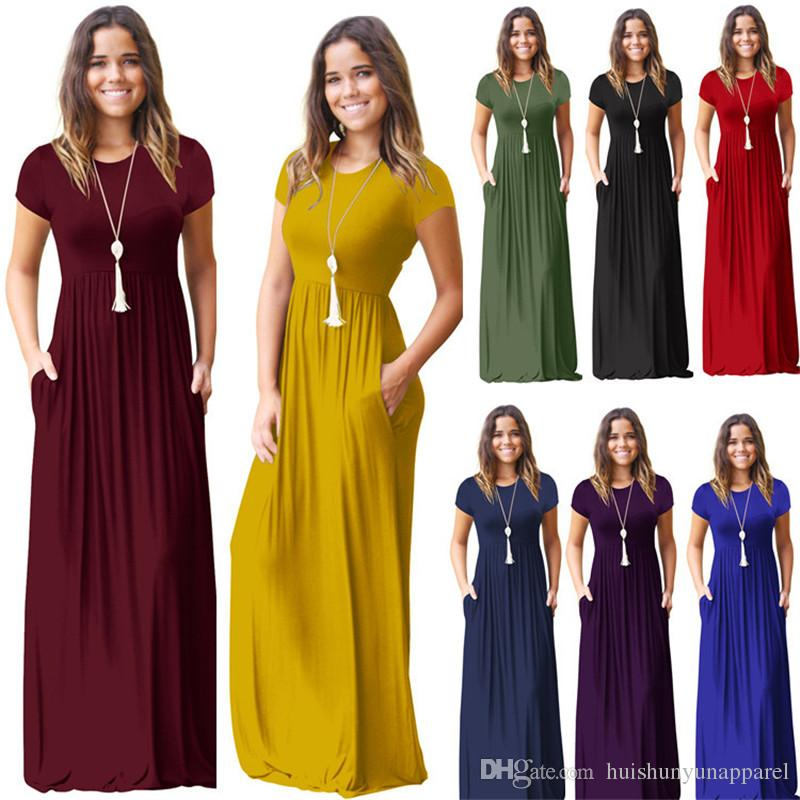 d438706f9ea Women Casual Short Sleeve O Neck Solid Maxi Dress Summer Pocket Floor  Length Dress Women Party Dresses Female