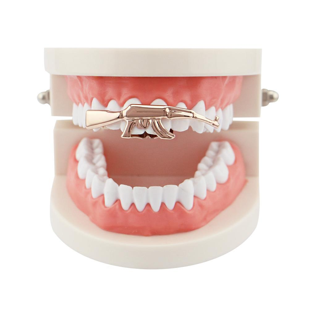 HipHop Ak-47 Grillz Top Grill Double Cap Teeth Gold Color Tooth Gun Ak47 Shape Removeable Grills Top Teeth