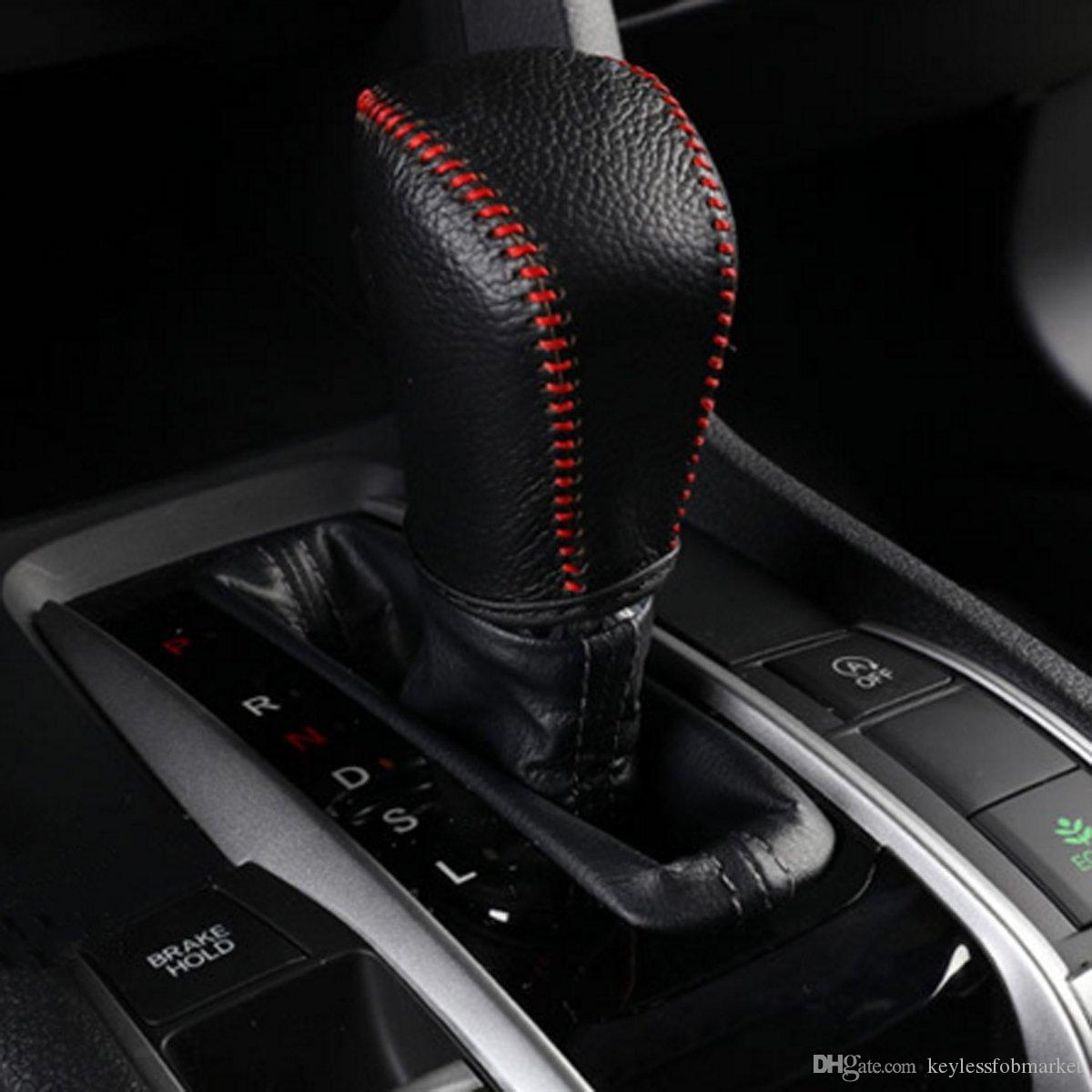 Genuine Leather Hand Sewing Gear Shift Knob Cover Case Shifter For Honda Civic 2016 Automatic