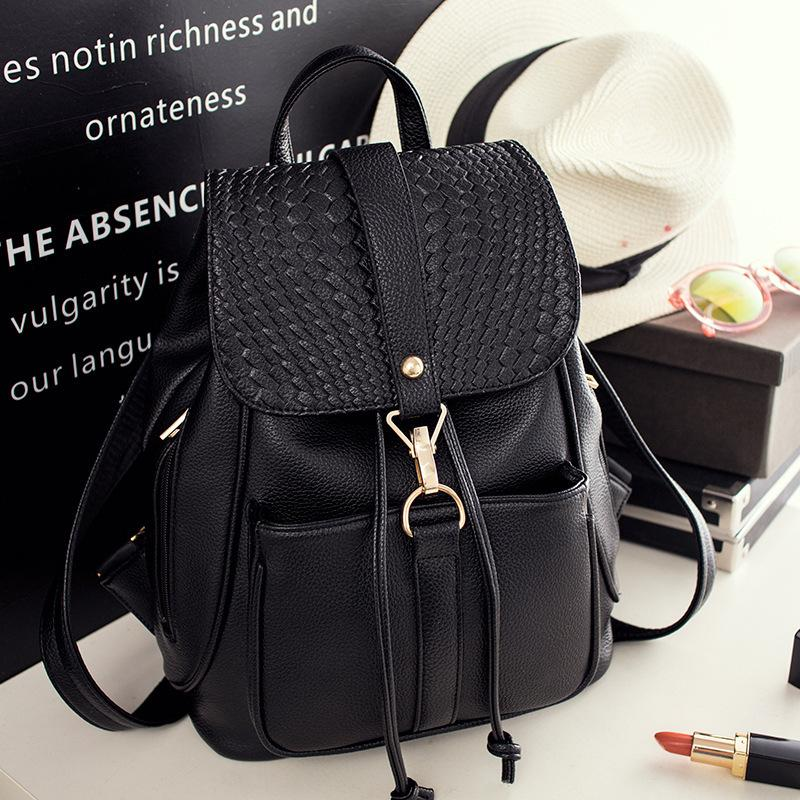 aee95f7e44c3 2019 Fashion2018 New Women Back Bag PU Leather Preppy Backpacks For Teenage  Girls Lady School Bags Black Casual Backpack Female Mochila Travel Backpack  Cute ...