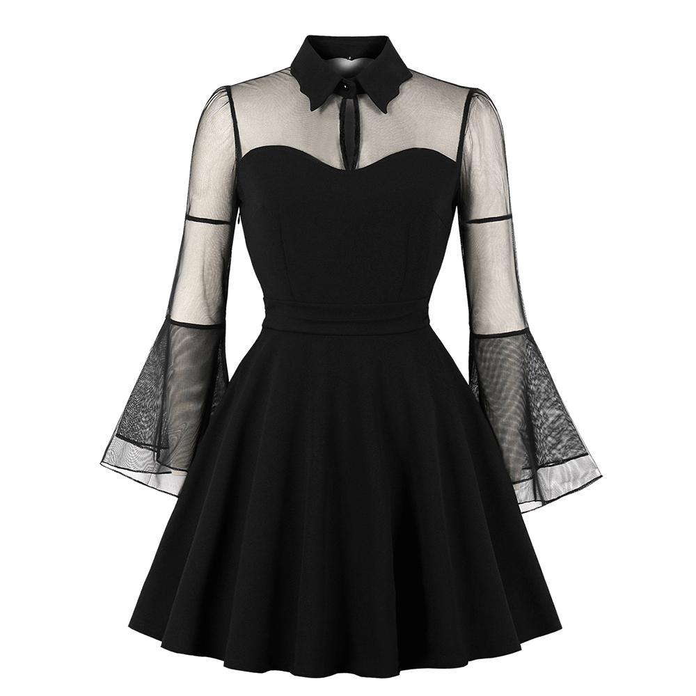 Sleeve Acquista drappeggiato Gotico Black Sexy Patch Donna Vestitino Abiti Plus Autunno Mesh Drappeggiato corti 5L3ARcjq4