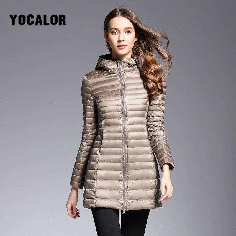 523b08180 2018 Long Duck Down Parka Warm Feather Jacket For Women Winter Large Size  Down Coats Ultra Light Quilted Hooded Coats Outerwear Y18101702