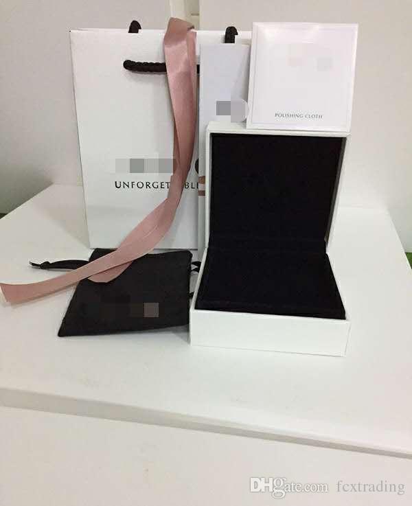 Weiß fit für Box Flache Schwamm Kissen Innen Charme-Korn-Halsketten-Ohrring-Armband Schmuck Geschenk-Box Papiertüten Paketanzeige