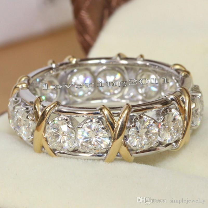 choucong Eternity Jewelry Pietra Diamante 10KT WhiteYellow Gold Filled Women Fidanzamento Wedding Band Ring Sz 5-11