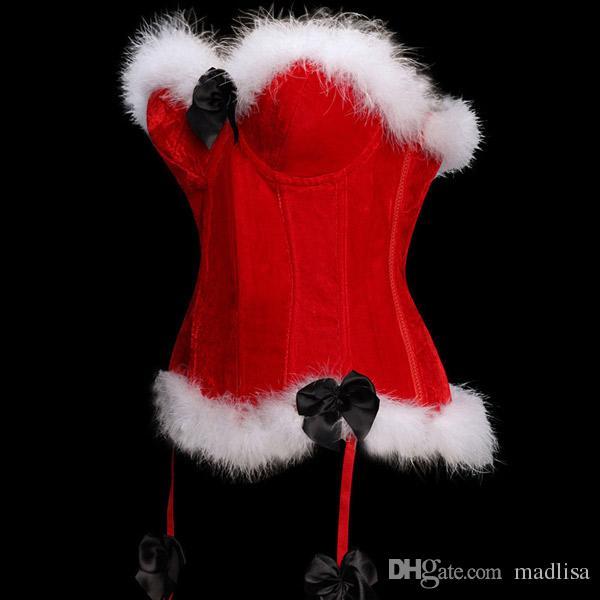 Red Cor de Natal Sexy Espartilhos para Penas Mulheres Santa bustier Corselet Overbust Corset Bow Halloween Costume Arnês gratuito Navio OLN17940