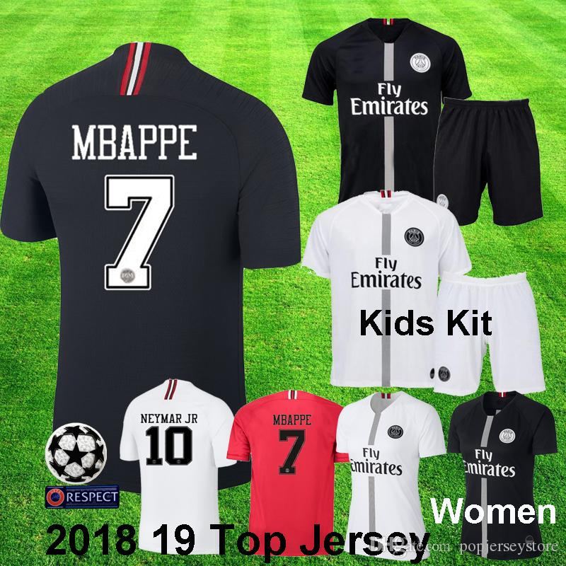 0e6f2964a69c2 Acquista 2018 19 Jordan Psg MBAPPE NEYMAR JR Champion Bambini Kit CAVANI  KIMPEMBE VERRATTI MARQUINHOS DI MARIA Psg UCL Black White Child Football  Uniforme ...
