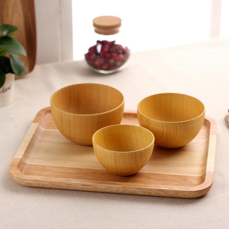 деревянная чаша изысканный ребенок посуда салат Saladeira рамен Fruteira пункт муму суп смешивания чашки Tigelas оптовой продаже