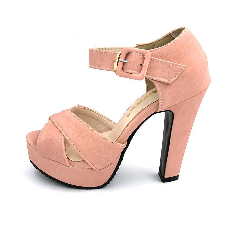 933acad93d Compre TAOFFEN Tamanho 32 43 Sandálias De Salto Alto Das Mulheres Peep Toe  Tira No Tornozelo Sapatos De Plataforma De Salto Alto Sandália Mulheres  Partido ...