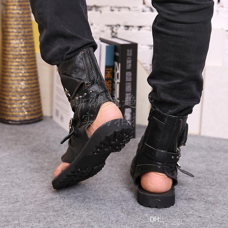 Gladiateur D'été Sandales Pour Hommes Noir Blanc Cheville En Cuir Hommes Appartements Italien Chaussures Sandales Rivets Mens Pantoufles Moto Bottes Taille 46