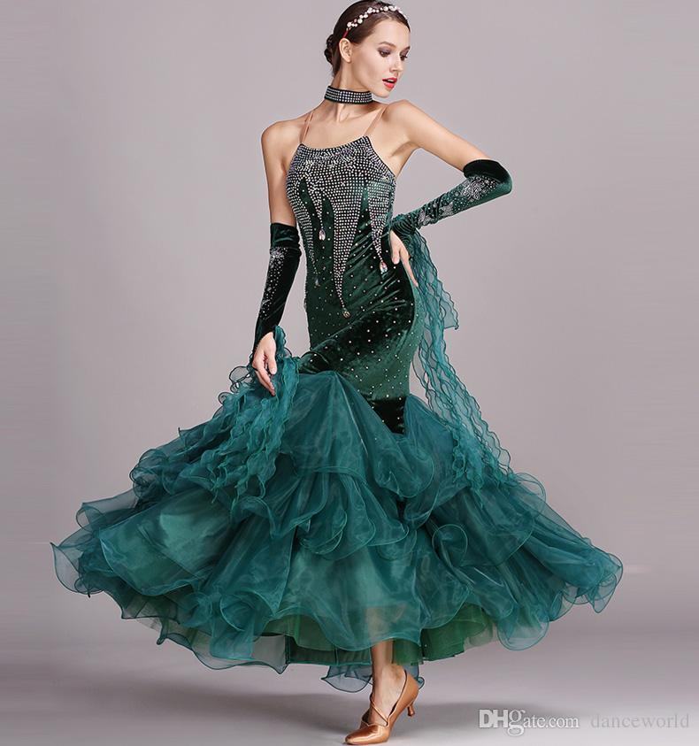 es rhinestones azules vestidos de baile vestidos estándar trajes de baile moderno trajes luminosos vestido de baile vals
