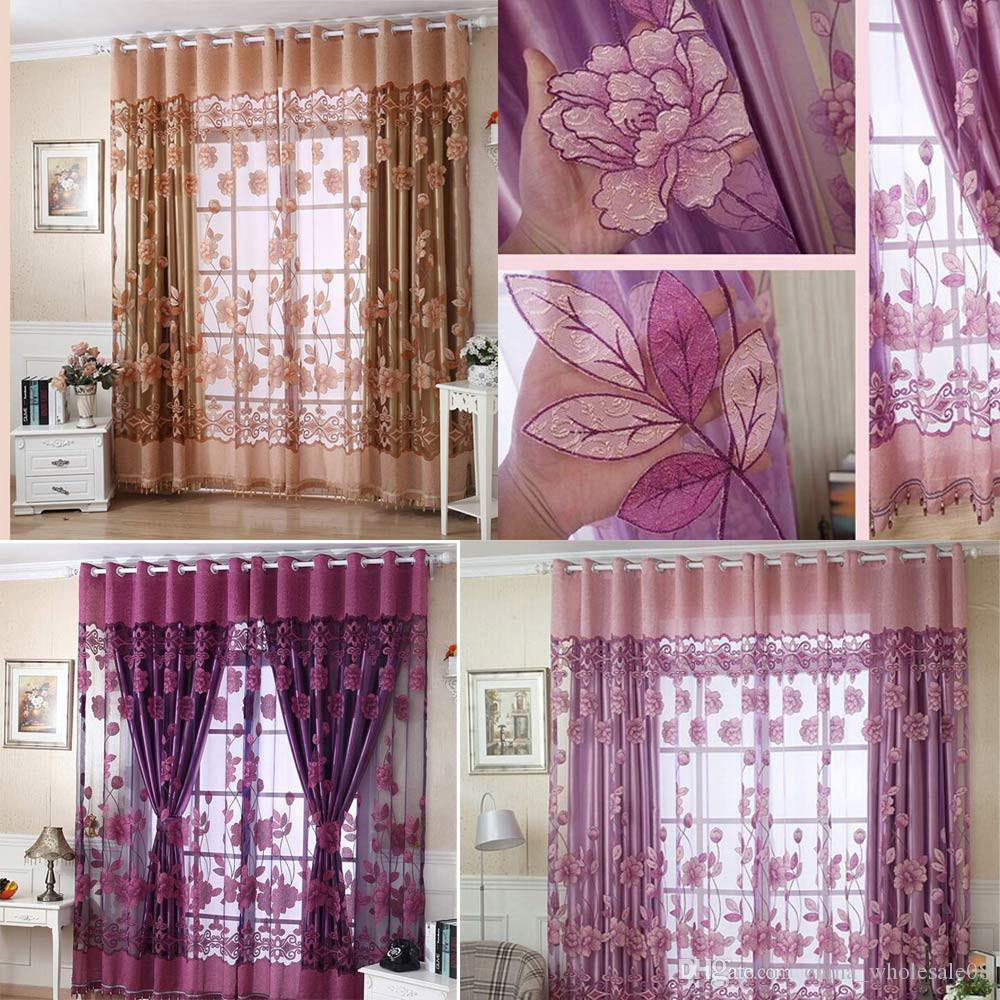 Dicas 100 Door Room Door: 2019 250cmx100cm Print Floral Voile Door Curtain Window