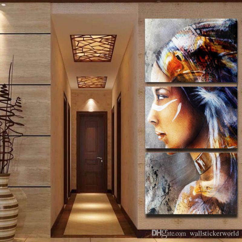 Trusted Home Painting Services In India: 2019 Canvas Painting 3 Panel Native American Indian Girl