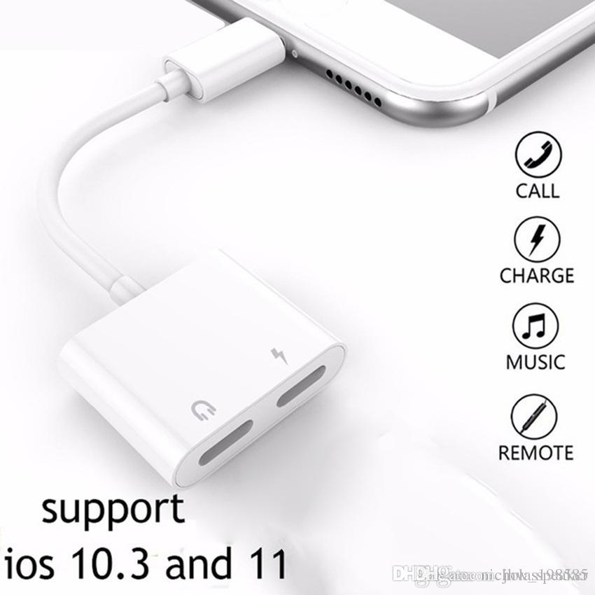 on sale 22491 2857a 2 in 1 For Dual Lightn--- Audio Converter Plus Splitter Earphone Aux Cable  OTG adapter for iPhone X 7 8 Plus charging