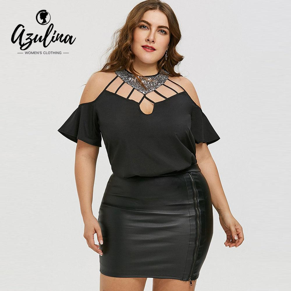 700cbe72de6f58 2019 AZULINA Plus Size Cutout Bell Sleeve Sequined Blouse Women Blouses  Shirts 2018 Summer Casual Crew Neck Short Sleeves Tops Blusas From  Finebeautyone