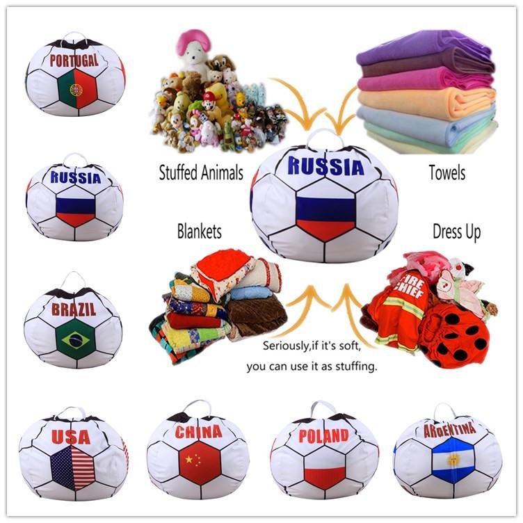 Digital Printing Russia World Cup Kids Storage Bean Bags Stuffed Animal Buggy bag Chair Portable Kids Toy Creative Storage Bag Play Mat hot