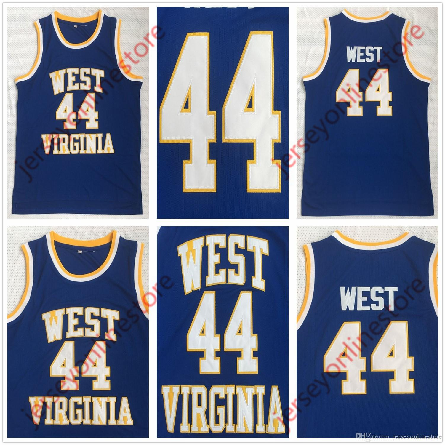 ec7bd7fa5d2 2019 Men West Virginia East Bank High School Mountaineers 44  Jerry West  Jersey Blue Embroidery Basketball Jerseys From Jerseyonlinestore