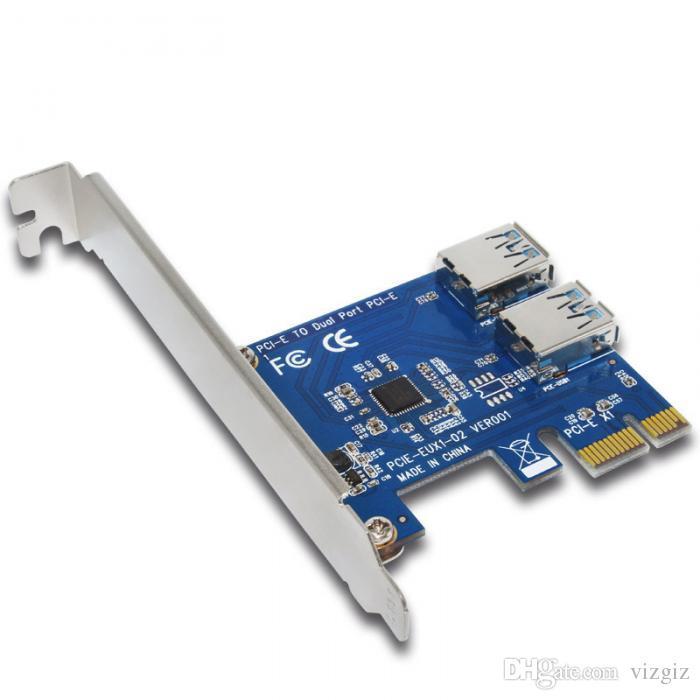 PCIE PCI Genişleme Kartı Kart 2 Limanlar Için USB 3.0 HUB Denetleyici Adaptörü Yükseltici Kartları Bitcoin Madencilik Cihazı XXM8