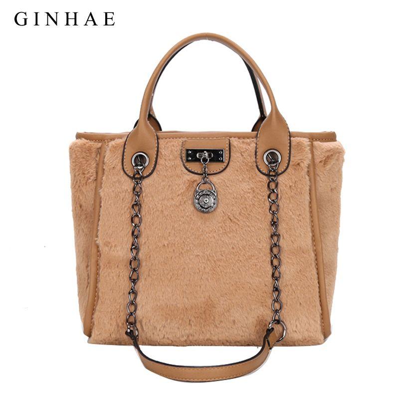 66c80cbee0 Luxury Faux Fur Women Bag Famous Brand Designer Women Chain Handbags Large  Capacity Female Shoulder Bag Soft Bolsos Mujer 2018 Cheap Designer Bags  Mens ...