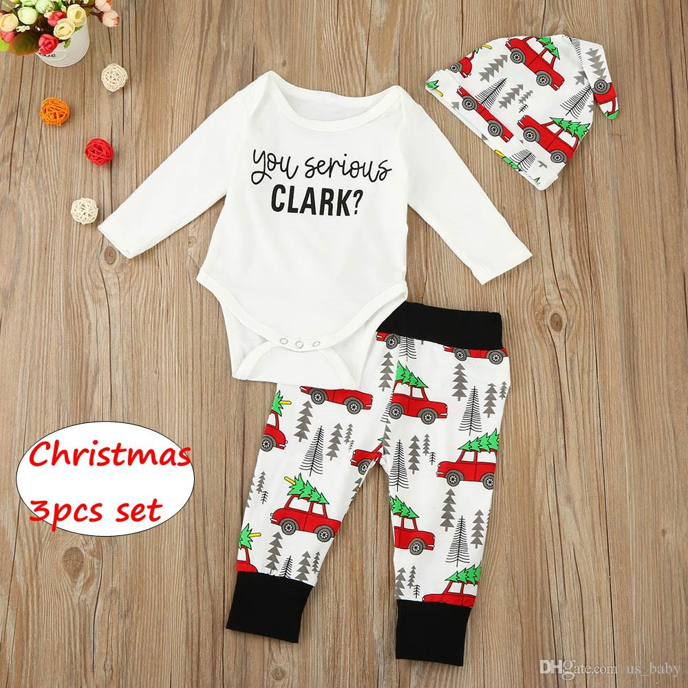 61bb4bb7e975 Baby Christmas Set Unisex Letter Cartoon Car Print Long Sleeve ...