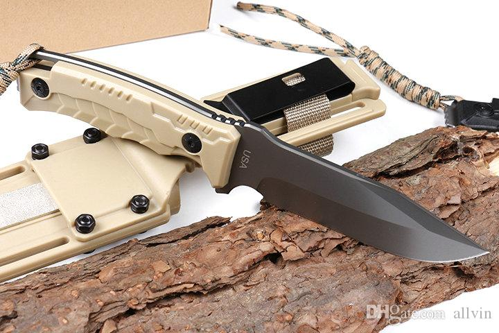 2018 New Survival Straight Knife AUS-8A Titanium Coated Blade Full Tang handle Outdoor Camping Hunting Fixed Blade Knives With Kydex