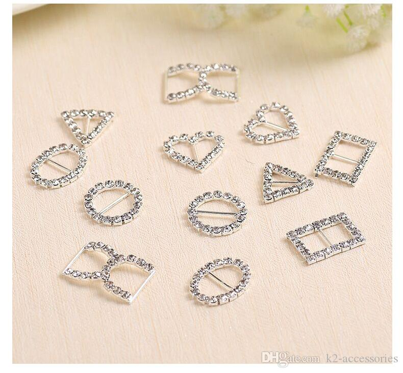 20mm White Rhinestone Crystal Buckles Brooches Bar Invitation Ribbon Chair Covers Slider Sashes Bows Buckles