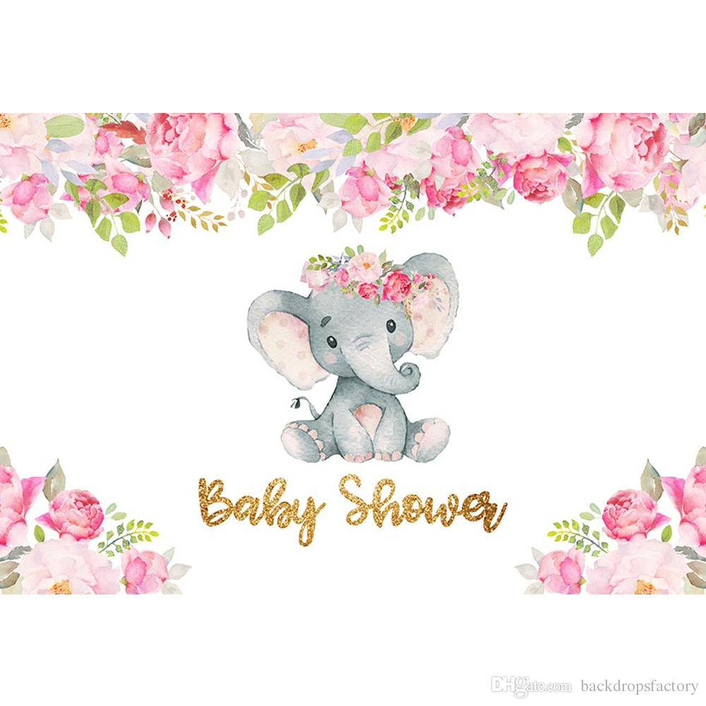 2019 Newborn Baby Shower Elephant Girl Backdrop Printed Pink Flowers