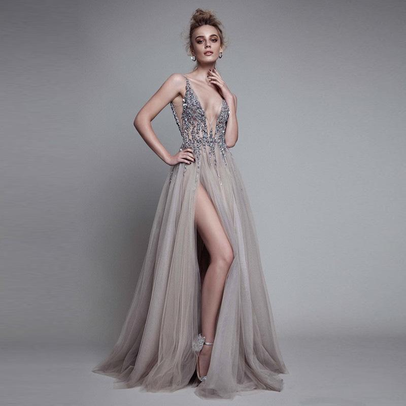 eff075cc70 LND832 Sexy Evening Dress 2018 V Neck Beads Open Back A Line Long Evening  Dresses Party Vestido De Festa High Split Tulle Prom Gowns Special Occasion  ...