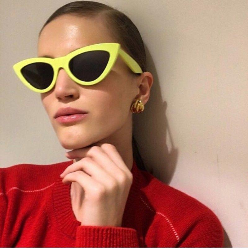 2e707c25ec Black Blue Cat Eye Sunglasses 2018 Women Mirror Sun Glasses Female ...