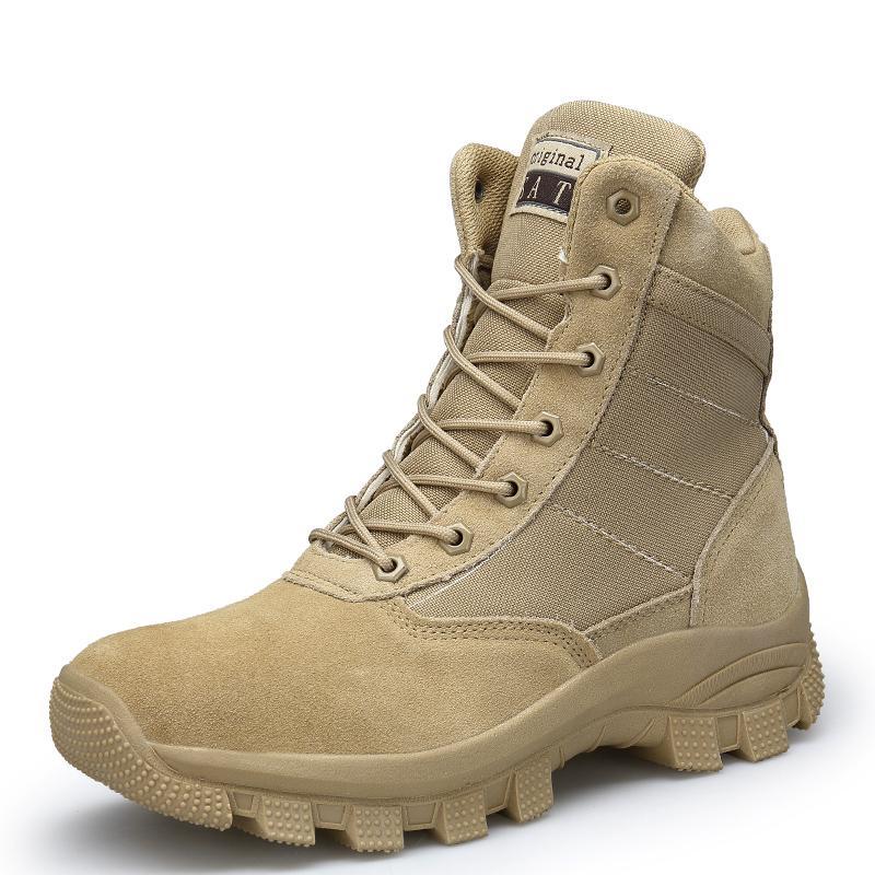 4652237d19 Compre Homens Botas De Exército Tático Militar Respirável De Malha De Couro  De Alta Top Casual Deserto Sapatos De Trabalho Dos Homens SWAT Tornozelo  Bota De ...