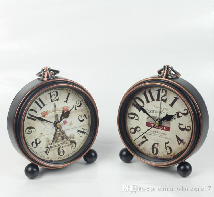 2019 Home Decoration Bronze Gold Mute Table Clock Handicraft Vintage Alarm  Clock European Style Retro Wrought Iron Craft Table Clocks From  China_wholesale17 ...