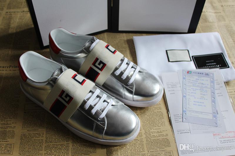 4fc52c05476 Mens Luxury Brand Designer Shoe Casual Sneakers Ace Jacquard Stripe ...