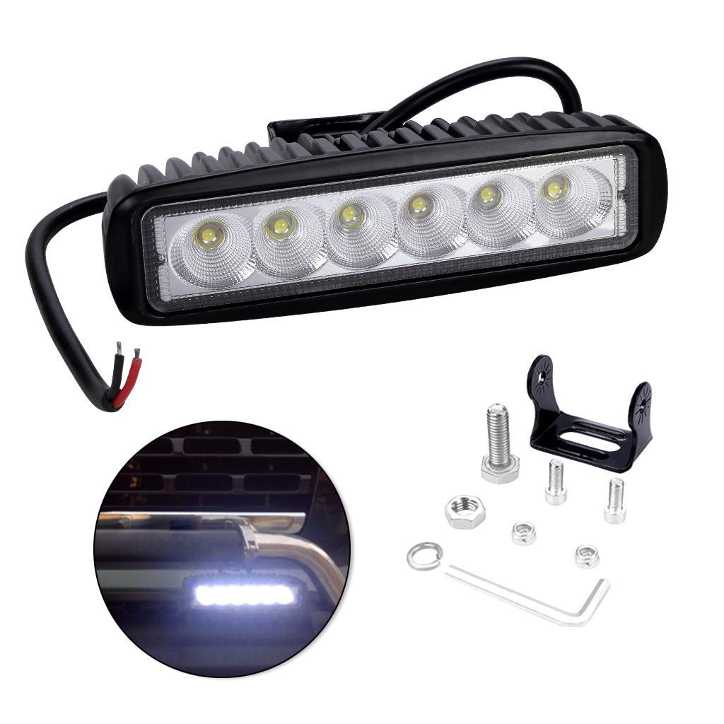 단일 행 6 led 조명 6inch 18W 6500K IP67 방수 작업 라이트 바 SUV 트럭 보트를위한 LED 라이트 바