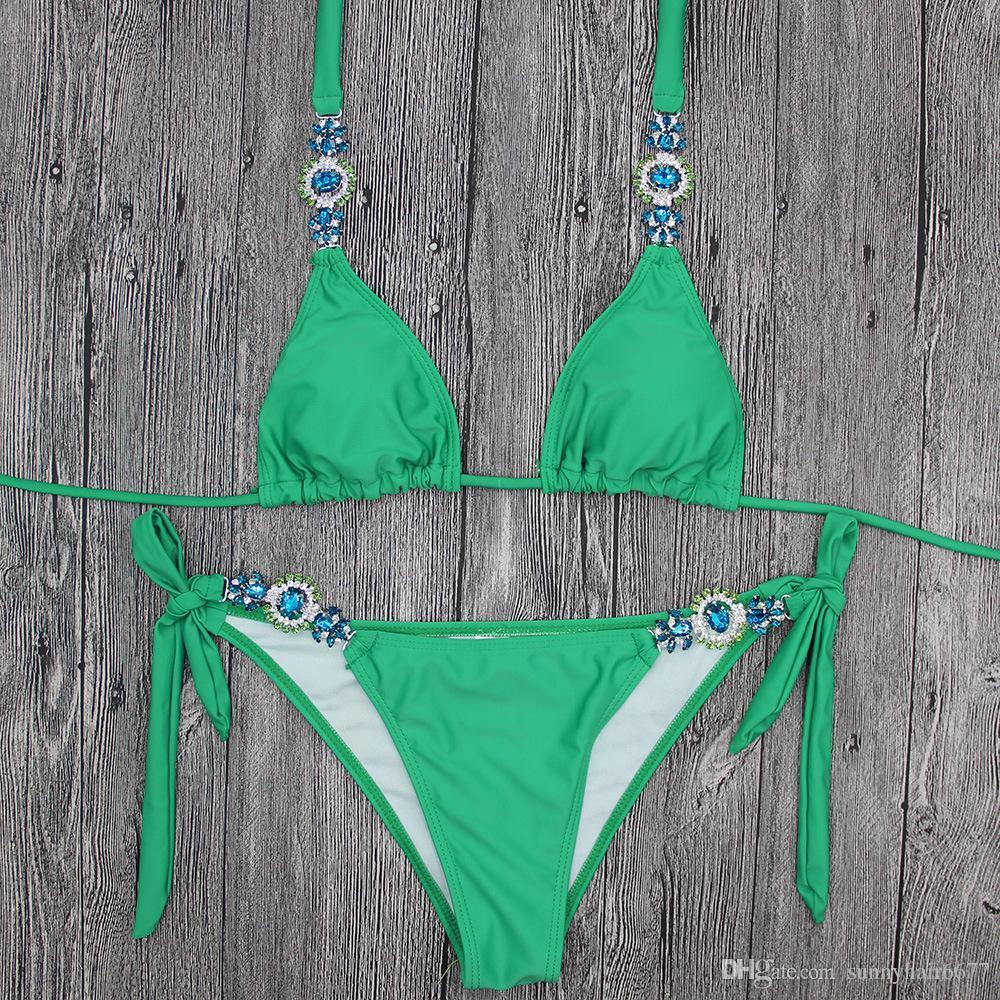 Solide Verkaufs neue sexy grün Diamantarmband swimwear Bademoden Europa und den Vereinigten Staaten von Amerika 1007