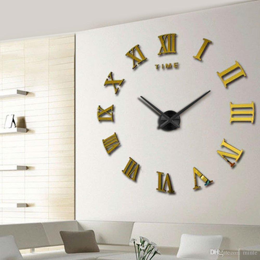 d5948d7e1d58f1 Acheter En Gros Horloge Murale Grand Décoratif Horloge Murale Design Moderne  3D Miroir Autocollant En Métal Grandes Montres Chiffres Romains Balances  Décor ...