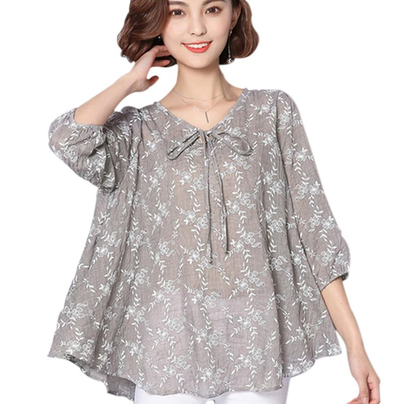9511a037127 Autumn Women Blouses And Tops 2018 Loose Linen Cotton Blouse Tunic ...
