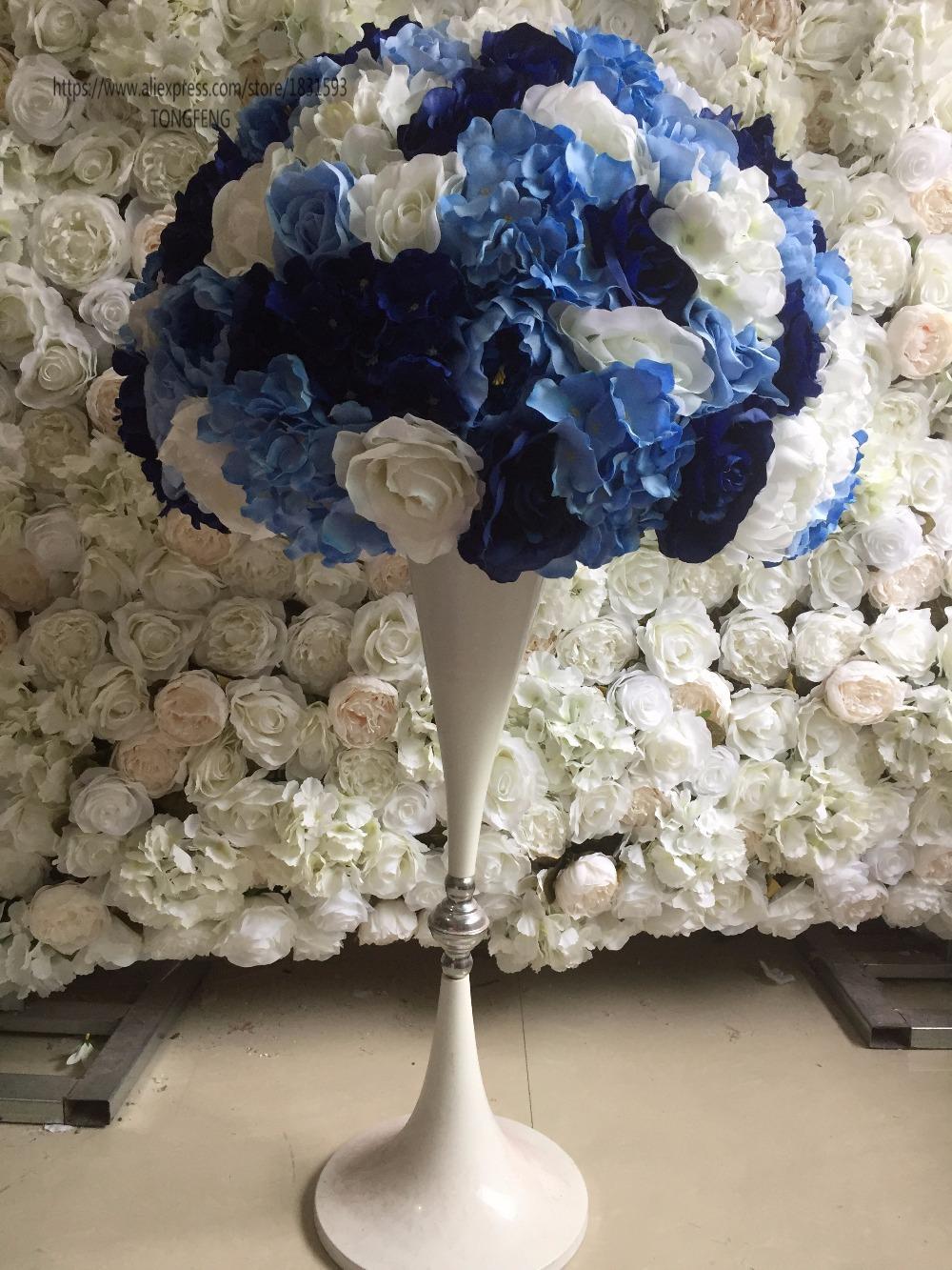 2 Teile Los Kunstliche Rose Pfingstrose Hortensien Blumen Hochzeit Strasse Blei Tischdekoration Blumen Hochzeit Dekoration Blau 55 Cm