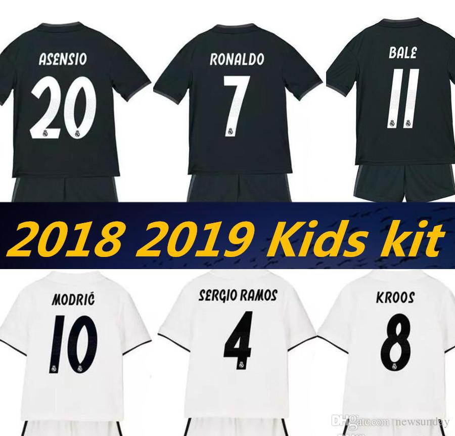 2019 2018 19 Top Quality Real Madrid Children Football Jerseys Home White  Away Black Boy Football Shirt Ronaldo Bale ASENSIO ISCO Children Shirts  From ... 84e40d4bb