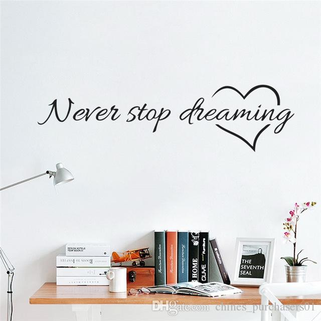 Inspiration quote words Never Stop Dreaming Love Heart home bedroom decor wall sticker friend student gifts school office mural AMI-117