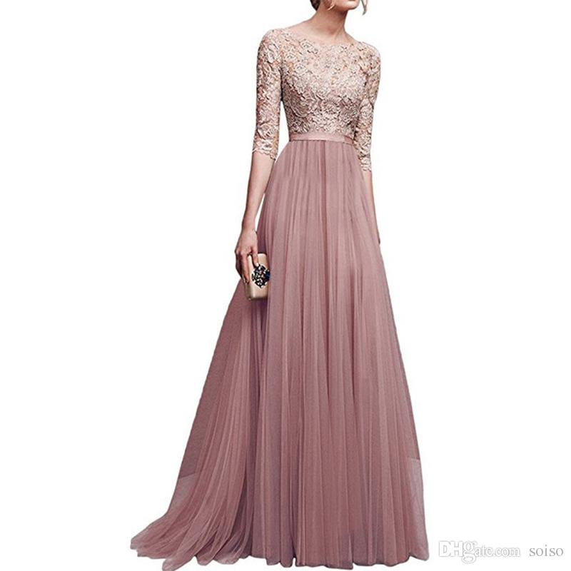 2019 New Maxi Dresses Elegant Full Sleeve Chiffon Lace Stitching Floor  Length Women Party Prom Evening Red Long Dress Female Clothing Clothes From  Soiso 34cd4320f
