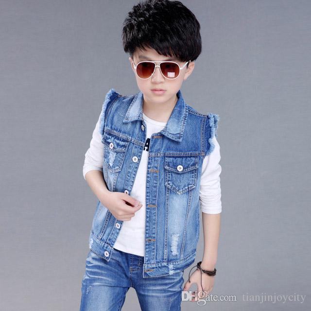 Satın Al Ilkbahar Sonbahar çocuk Boy Denim Ceket Yelekler Kot