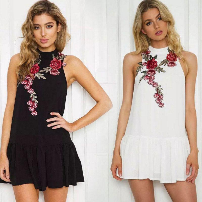 08eef1dba39e Floral Embroidery Women Summer Dress 2018 Backless Sleeveless Halter Neck Dress  Casual Sexy Beach Black Short Mini Dress Vestido Wedding Party Dresses ...
