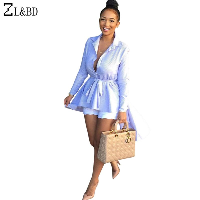 8b356c229 ZLBD blusas mujer Mujeres Turn-Down Collar manga larga rayas camisas Ladies  elegante cola de Milano larga blusa y Top con correa ZA757