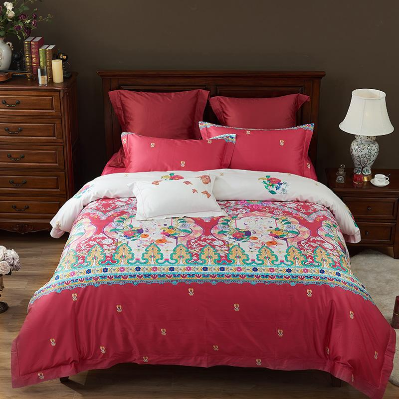 Bedding Sets Creative Luxury Plaid Red Flower Printed Bedding Sets Coverlets Comforter Single Twin Full Queen King Size Childrens Girls Womens Room