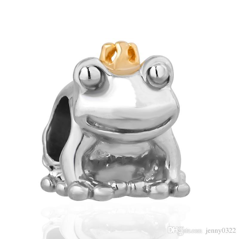 Libero di trasporto MOQ Oro Argento auto cane Rana Turtle Animal Hanging Charms branello Pandora Bracelet monili originali makeing fai da te J016