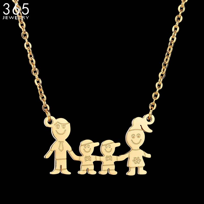 bc5e568be Wholesale Fashion Accessories Gold Color Cute Dad Mom Two Son Necklace  Stainless Steel Simple Family Necklace For Party Gift Necklace Pendants  Garnet ...