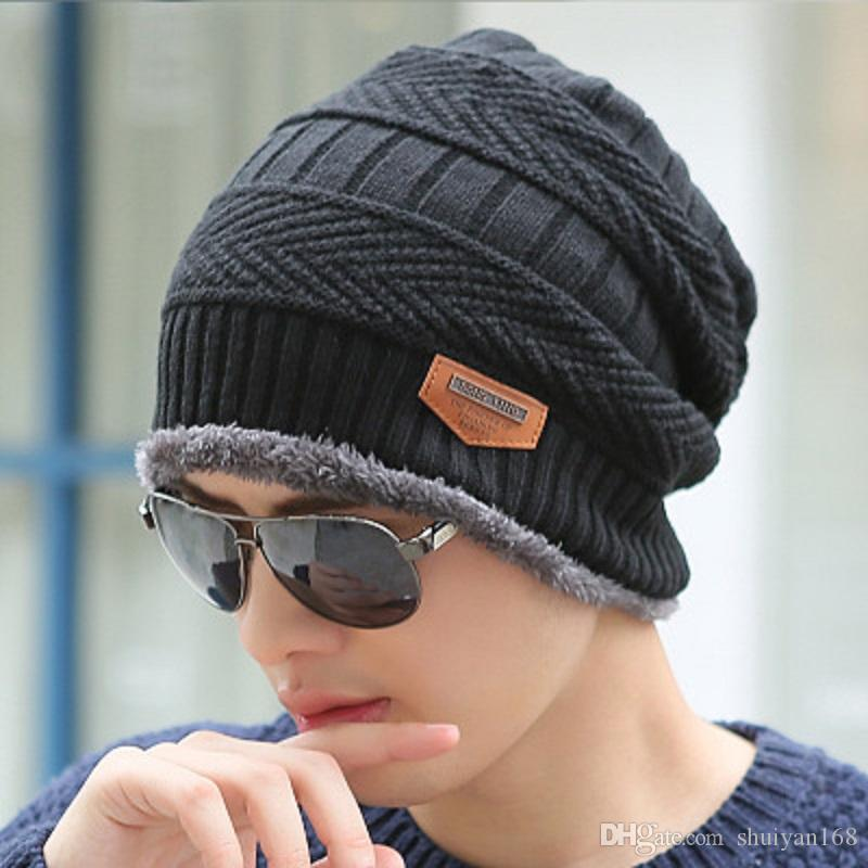 8f1df0bb0880cd Beanie Men Women Winter Hats Add Wool Fur Ball Cap Winter Outdoor Hat For  Male Female Knitted Warm Beanies Cap Wholesale Cheap Trilby Mens Hats From  ...