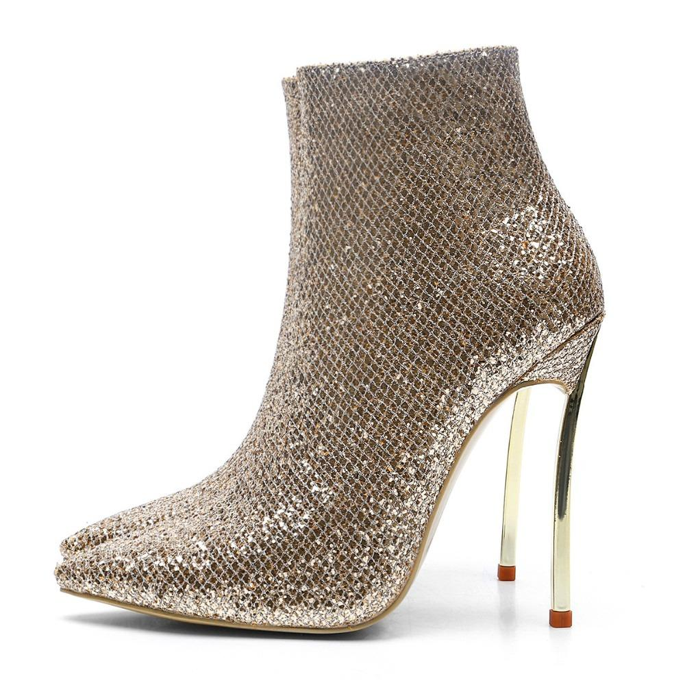 8988c251f Fashion Pointed Toe High Heel Short Boots Golden Women Metal Heels Shoes  Hot Selling Shallow Boots Large Size Customzied Shoes Designer Shoes Rain  Boots For ...