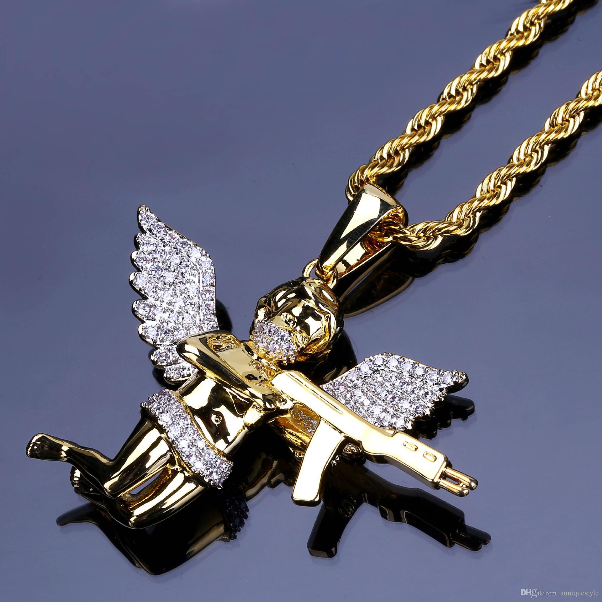 7da2197282df Compre Hombres Collares De Diamantes De Imitación Llenos ...