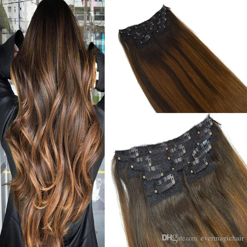 Straight Hair 120g Color 2 Fading To 6 Ombre Balayage Extensions